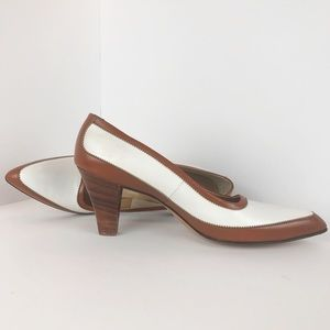 Vintage White and Brown Pointed Toe Heels 3 Inch